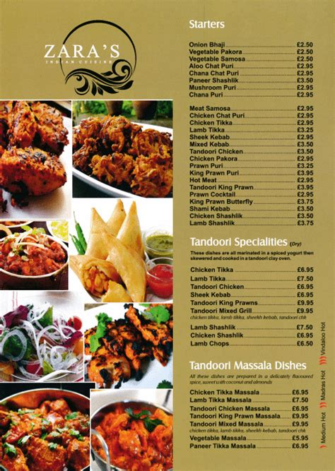 Takeaway and delivery menu for Zara's Indian restaurant in