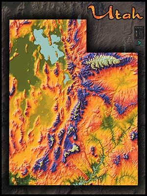 Physical Map of Utah Topography   Colorful Mountains and